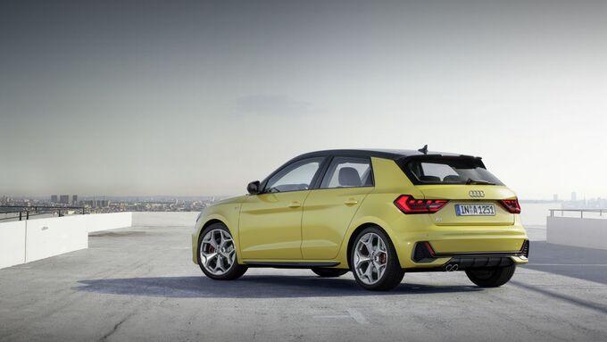 Audi A1 2018, gelb, stehend, links, hinten