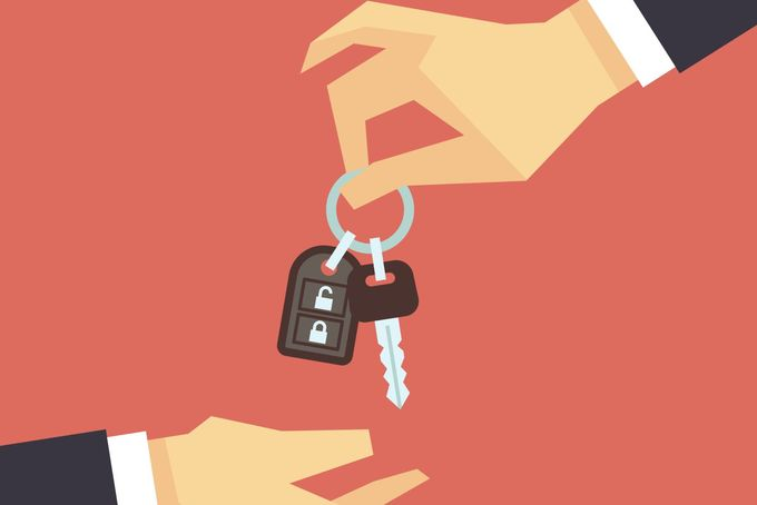 Hand giving car key. Vector rent and sale flat concept