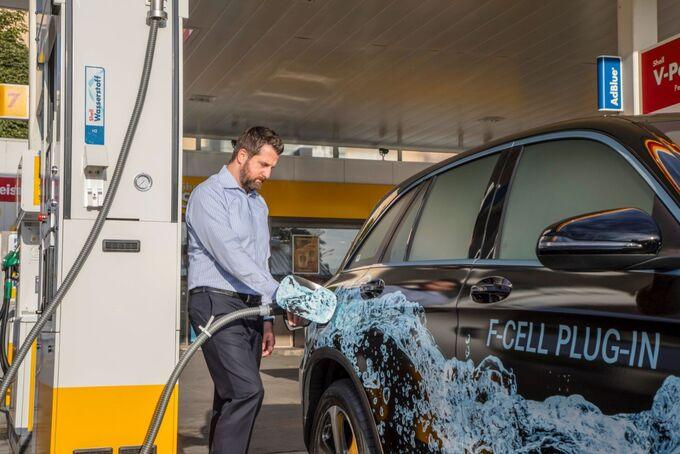 tanken, brennstoffzellenauto, f-cell, fuel, cell, mercedes, glc, shell, tankstelle